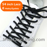 Black Round 54INCH Shoe Laces Black Round Shoe Strings 2Pairs