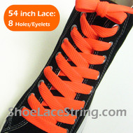 Neon Orange Fat 54IN Lace Neon Orange Flat Wide Shoe String 1 PRs