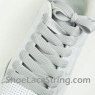 "Light Gray Fat 54"" Lace Light Grey Flat Wide/Fat ShoeString 2PRs"