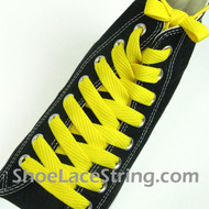 Yellow Fat 54IN Laces Yellow Flat Wide/Fat Shoe Strings 1 Pairs