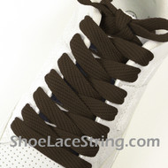 Brown 54INCH Fat Laces Brown Flat Wide/Fat Shoe Strings 1 Pairs