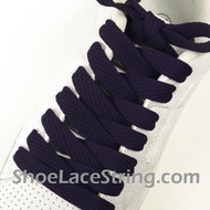 "Navy Blue Fat 54"" Laces Navy Blue Flat Wide/Fat Shoe String 1 PRs"