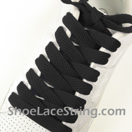 Black Fat Laces 54INCH Black Flat Wide/Fat Shoe Strings 2Pairs