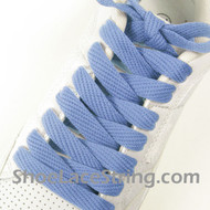 "Light Blue Fat 54"" Lace Light Blue Flat Wide/Fat ShoeString 1 PRs"