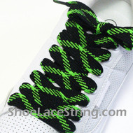 Neon Green and Black Fat Laces Wider Shoe Strings 52INCH 1 PAIRS