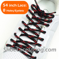 Black and Red 54INCH Round Shoe Lace Round Shoe String 1 Pairs