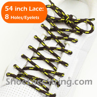 "Brown and Yellow 54"" Round Shoe Lace Round Shoe String 2Pairs"
