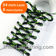 "Black and Neon Green 54"" Round ShoeLace Round Shoe String 2Pairs"