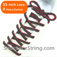 "Charcoal Dark Gray and Red 55"" Oval Shoe Lace Shoe String 1Pair"