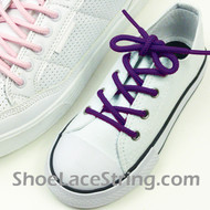 Kids Purple Round Shoe Laces Purple Round Shoe Strings 2Pairs
