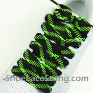 Neon Green and Brown Fat Laces Wider Shoe Strings 54INCH 2PAIRS
