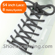 "Charcoal Gray Round 54"" ShoeLace Dark Grey Round ShoeString 1 PRs"