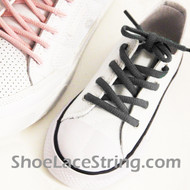 Charcoal Gray Kid Oval ShoeLace Dark Grey Oval ShoeString 1 Pairs