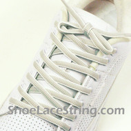 Light Gray White Oval ShoeLace Grey White Oval ShoeString 2Pairs