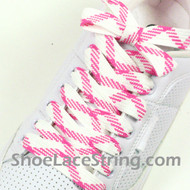 Pink and White Fat Laces Pink White Wider Shoe Strings 54IN 2PRS