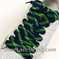 Neon Green and Blue Fat Laces Wider Shoe Strings 54INCH 1 PAIRS
