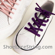 Purple Kid's Oval ShoeLace Purple Oval ShoeString 2Pairs