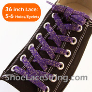 Glitter Purple Shoe Lace Sparkling Purple Shoe String 36IN 1 PAIR