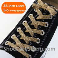 Glitter Gold Shoe Lace Sparkling Gold Shoe String 36INCH 1 PAIRS