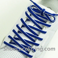 Blue and White Oval Shoe Lace Oval Shoe String 1 Pairs
