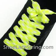Neon Yellow White Fat Laces Wide Shoe Strings 45INCH 2PAIRS