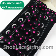 Neon Hot Pink Stars Black Cool Shoe Lace Shoe String 45INCH  1 PRS