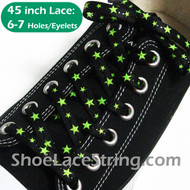 Neon Green Stars on Black Cool ShoeLace ShoeString 45INCH 1 PAIRS