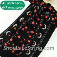 Neon Orange Stars on Black Cool ShoeLaces ShoeString 45INCH 1 PRS