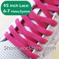 Hot Pink 45INCH Flat Shoe Lace HotPink Flat Shoe String 2PAIRS