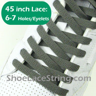 Charcoal Gray 45IN Flat ShoeLace Dark Grey Flat ShoeString  1 PRs