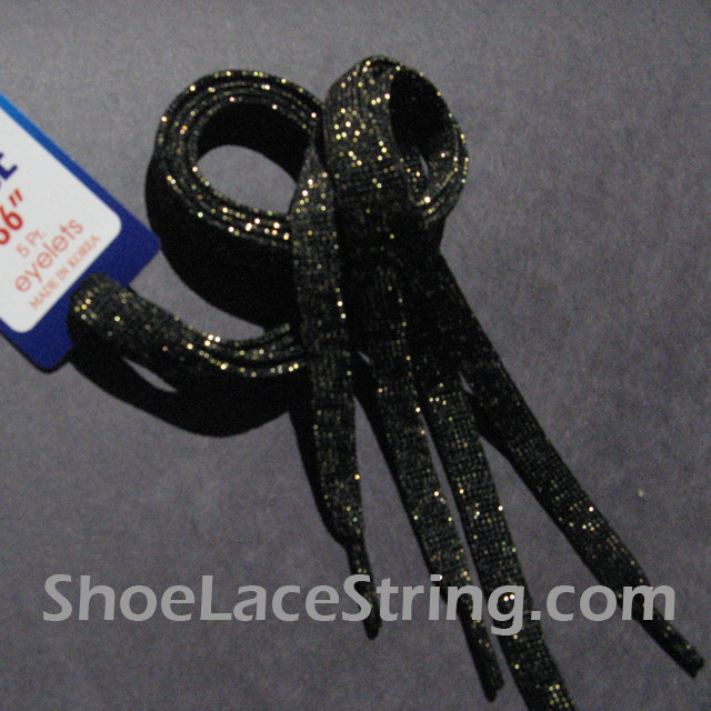 Gold in Black Glitter Shoe Lace