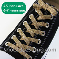Glitter Sparkling Gold ShoeLaces Gold ShoeStrings 45INCH  1 PAIRS