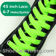 Neon Green Fat/Wide 45INCH Shoe Laces ShoeStrings 2Pairs