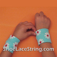Light Blue with Flowers Cute Kids Wrist Bands for Party,  2PAIRS