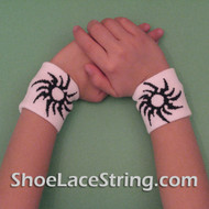 White with the Black Sun Kids Wrist Bands for Party,  2PAIRS