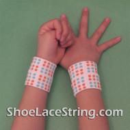 White with Orange Blue Polka Dots Kids Wrist Band,  2PAIRS