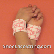 Pink Hearts on White Cute Kids Wrist Bands for Party,  2PAIRS