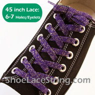 Glitter Sparkling Purple with Gold ShoeLace ShoeString 45IN 2PRs