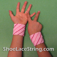 Pink Striped Cute Kid's Wrist Bands for Party,  2PAIRS