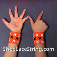Orange with Stars Cool Kid's Wrist Bands for Party,  2PAIRS