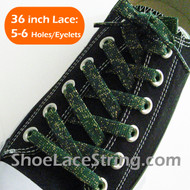 Gold in Green Glitter Shoe Lace Sparkling Shoe String 36IN  1 PRs