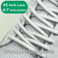 White & Light Gray(Grey) Oval 45IN ShoeLace Oval ShoeString 2PRs