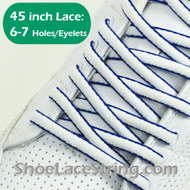 """White and Blue Oval 45IN ShoeLace Blue Oval 45"""" ShoeString 1 PRs"""