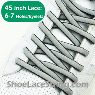 Light Gray(Grey) & Black Oval 45IN ShoeLace Oval ShoeString 1 PRs