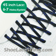 Black and Blue Round 45INCH Shoe Laces Round Shoe Strings 1 PARRs