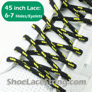 Black and Yellow Round 45INCH ShoeLaces Round Shoe Strings 2PRs
