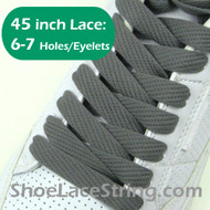 "Charcoal Gray Flat Fat 45"" Shoe Lace Dark Grey ShoeStrings 2PRs"