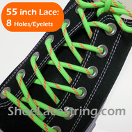 Neon Green & Neon Orange 55INCH Round Shoe Laces Strings 1 Pairs