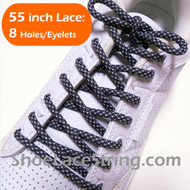 Charcoal Gray and White 55INCH Round ShoeLace Strings 1 Pairs