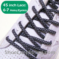 Charcoal Gray and White 45INCH Round ShoeLaces String 1Pairs